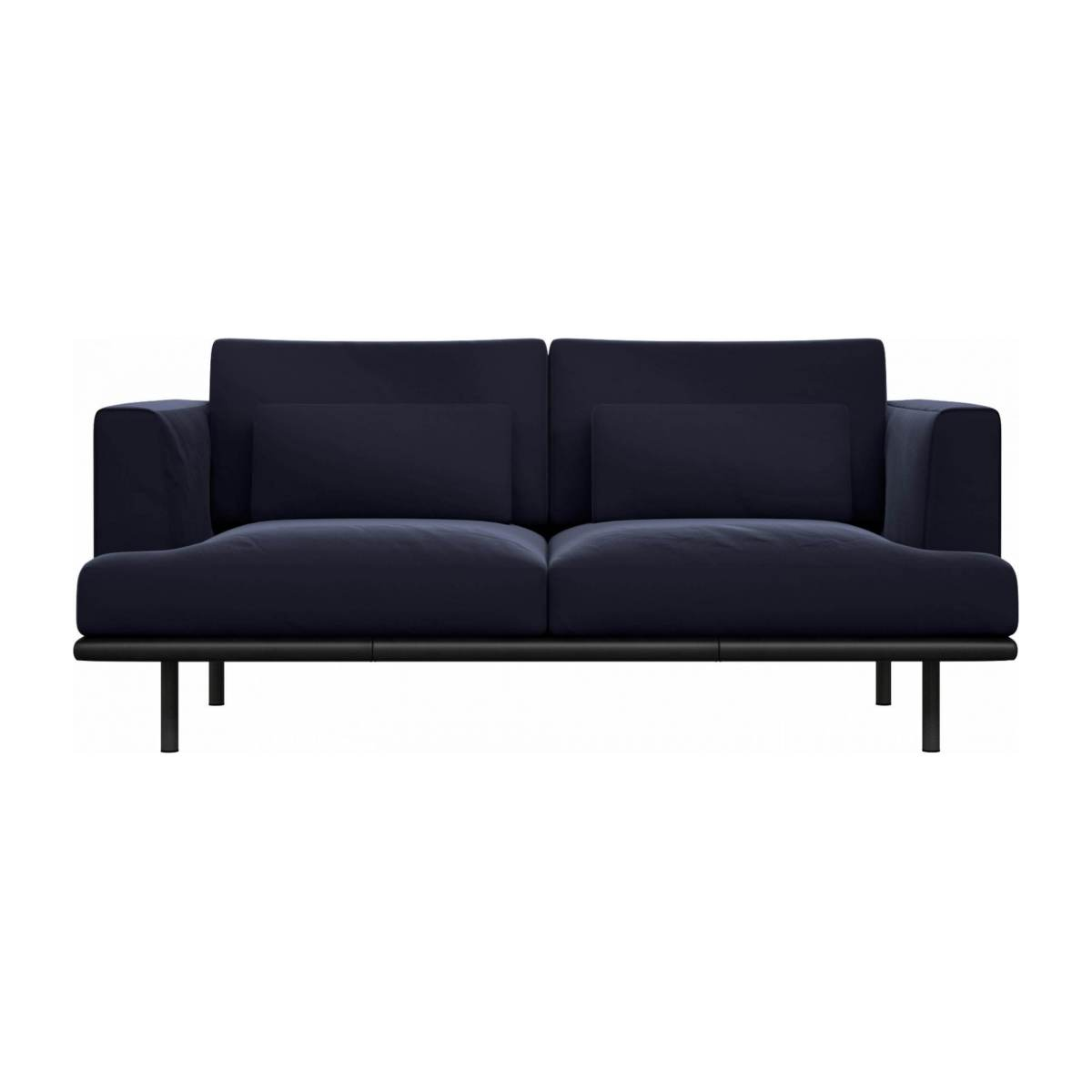 2 seater sofa in Super Velvet fabric, dark blue with base in black leather n°1