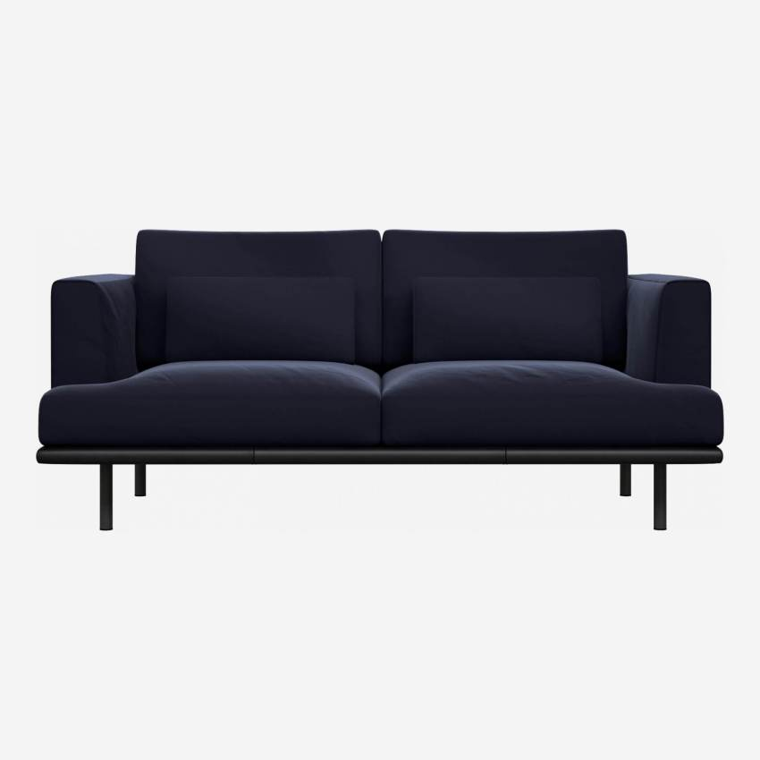 2 seater sofa in Super Velvet fabric, dark blue with base in black leather
