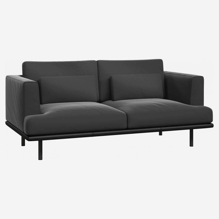 2 seater sofa in Super Velvet fabric, silver grey with base in black leather