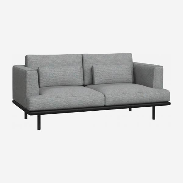 2 seater sofa in Lecce fabric, blue reef with base in black leather
