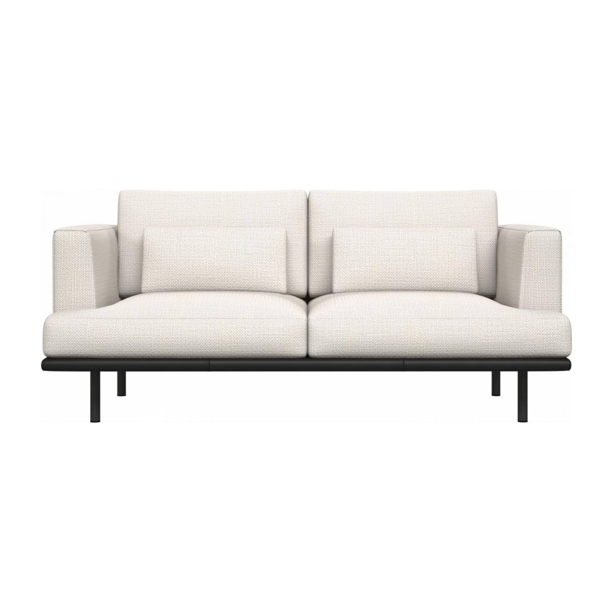 2 seater sofa in Fasoli fabric, snow white with base in black leather n°1