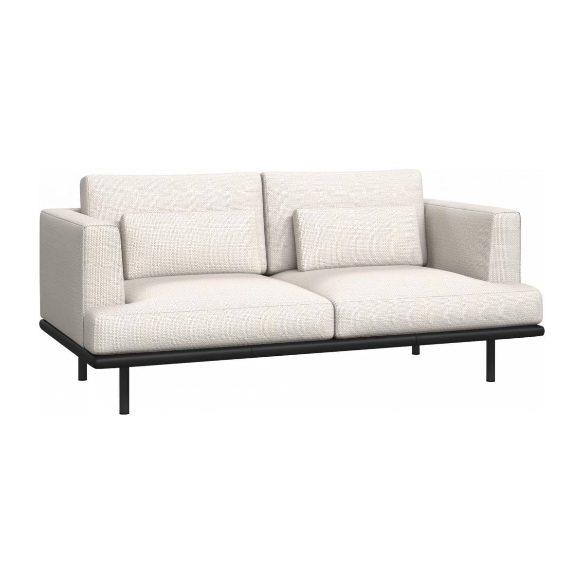 2 seater sofa in Fasoli fabric, snow white with base in black leather n°2
