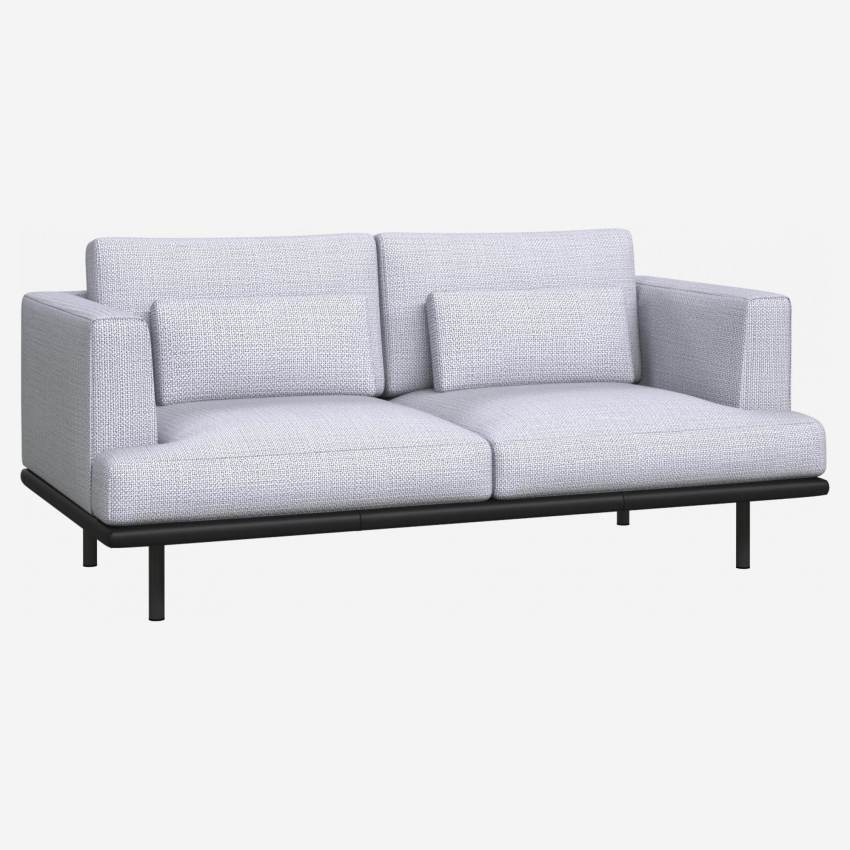 2 seater sofa in Fasoli fabric, grey sky with base in black leather