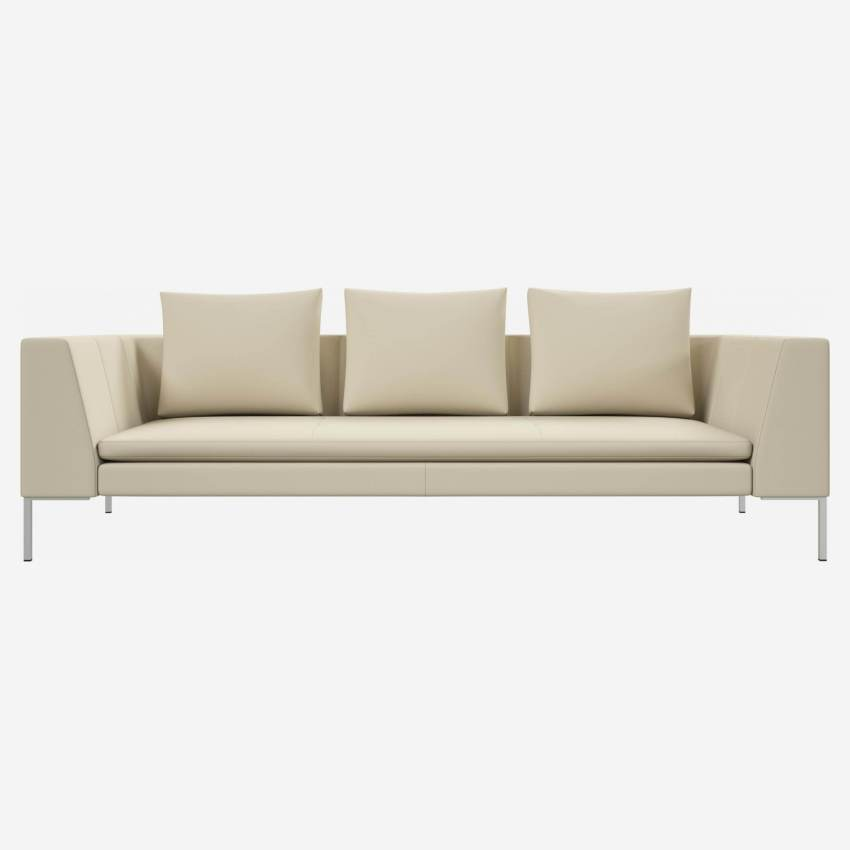 3 seater sofa in Savoy semi-aniline leather, off white