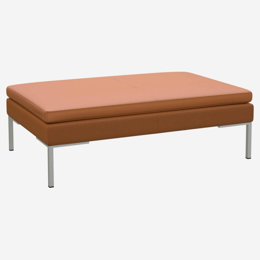 Footstool in Savoy semi-aniline leather, cognac