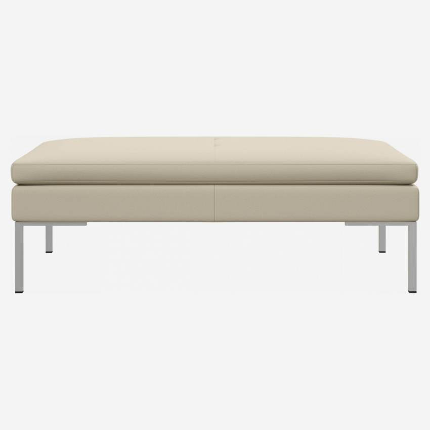 Footstool in Savoy semi-aniline leather, off white
