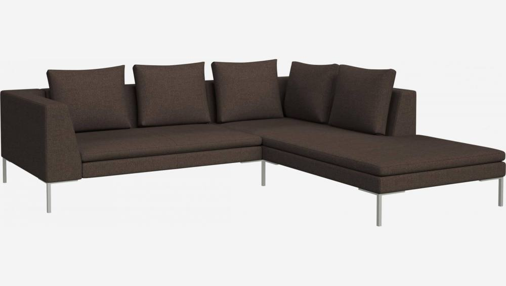 2 seater sofa with chaise longue on the right in Lecce fabric, muscat