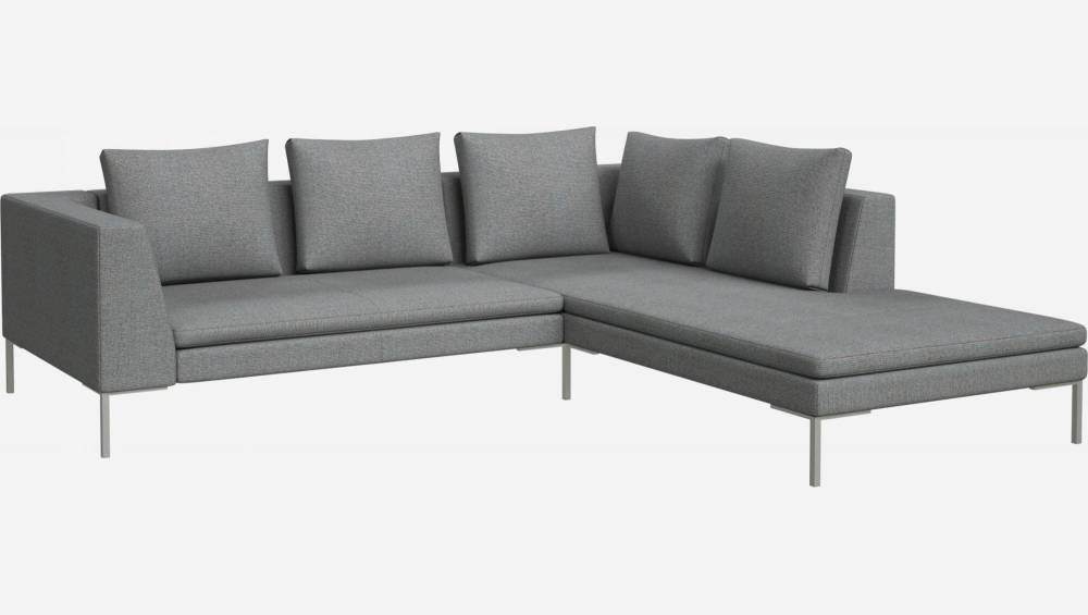 2 seater sofa with chaise longue on the right in Lecce fabric, blue reef