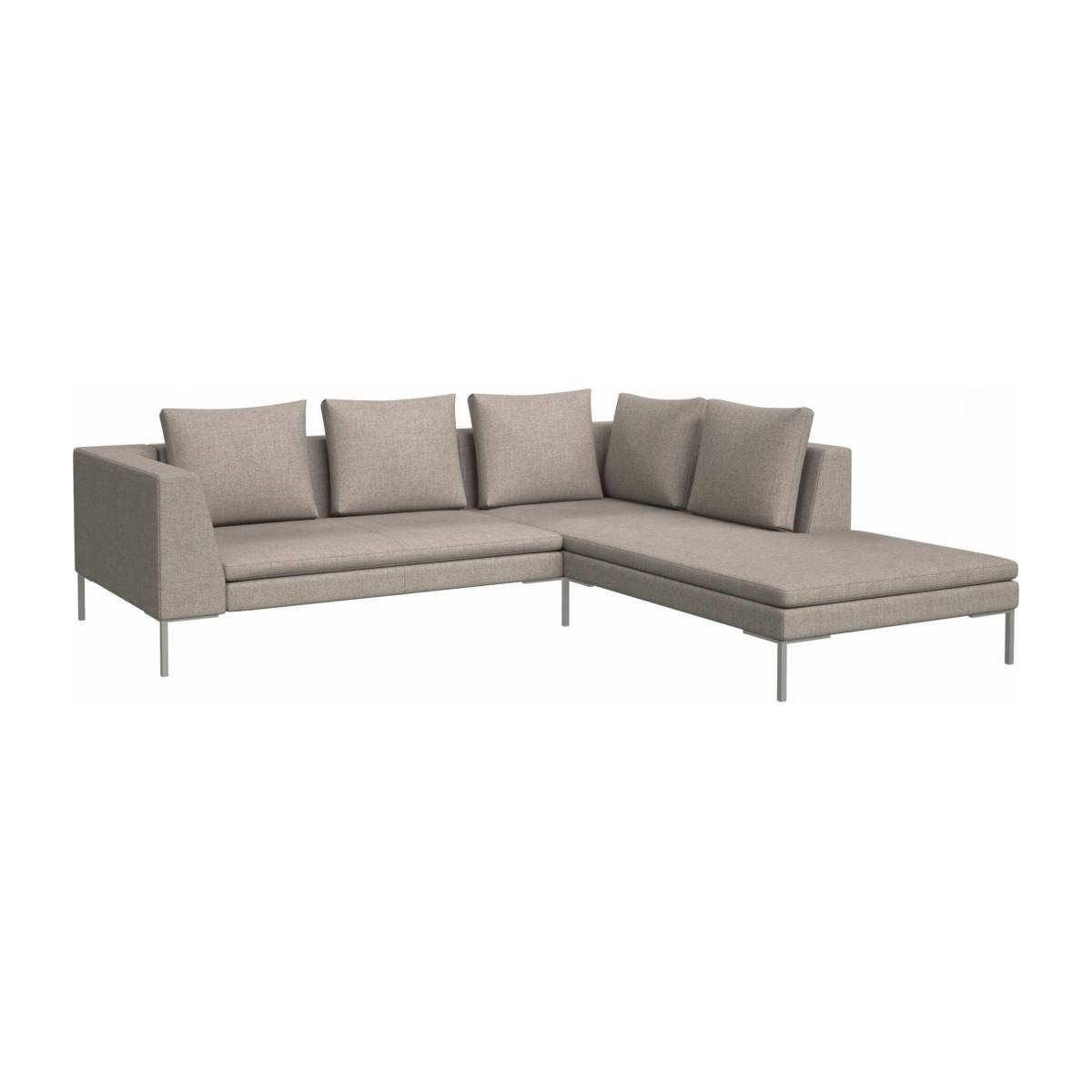 2 seater sofa with chaise longue on the right in Lecce fabric, nature  n°2