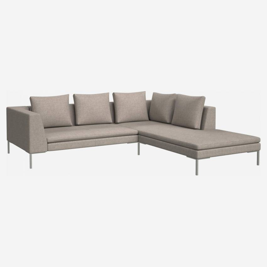 2 seater sofa with chaise longue on the right in Lecce fabric, nature