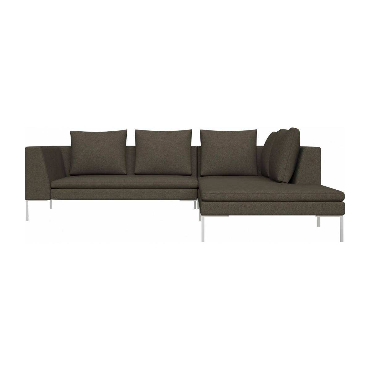 2 seater sofa with chaise longue on the right in Lecce fabric, slade grey  n°1