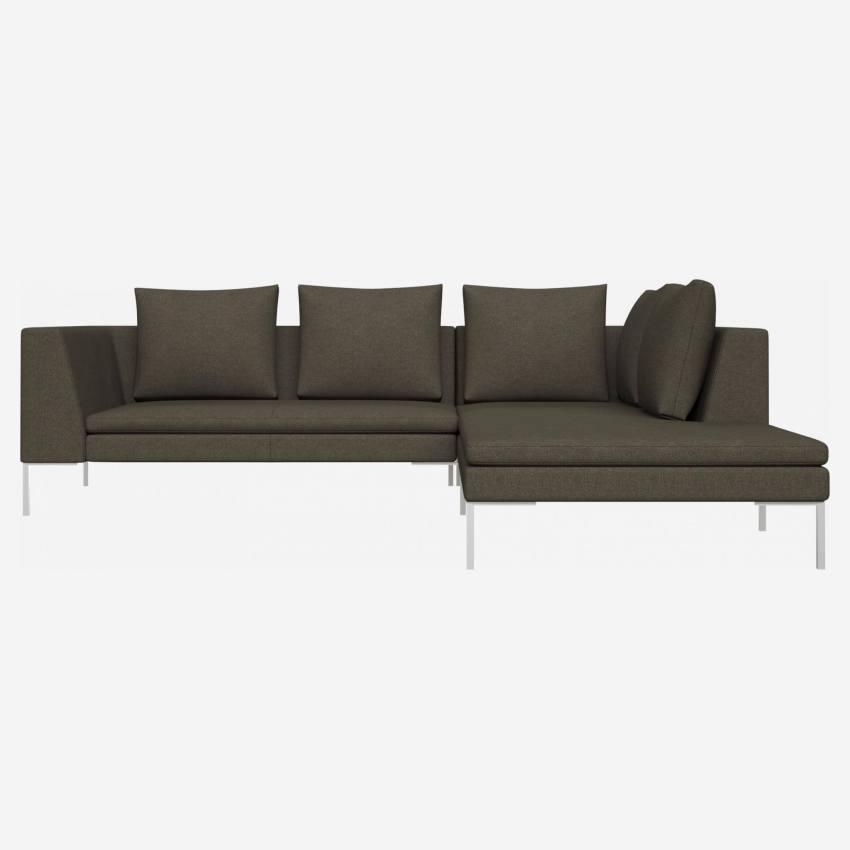 2 seater sofa with chaise longue on the right in Lecce fabric, slade grey