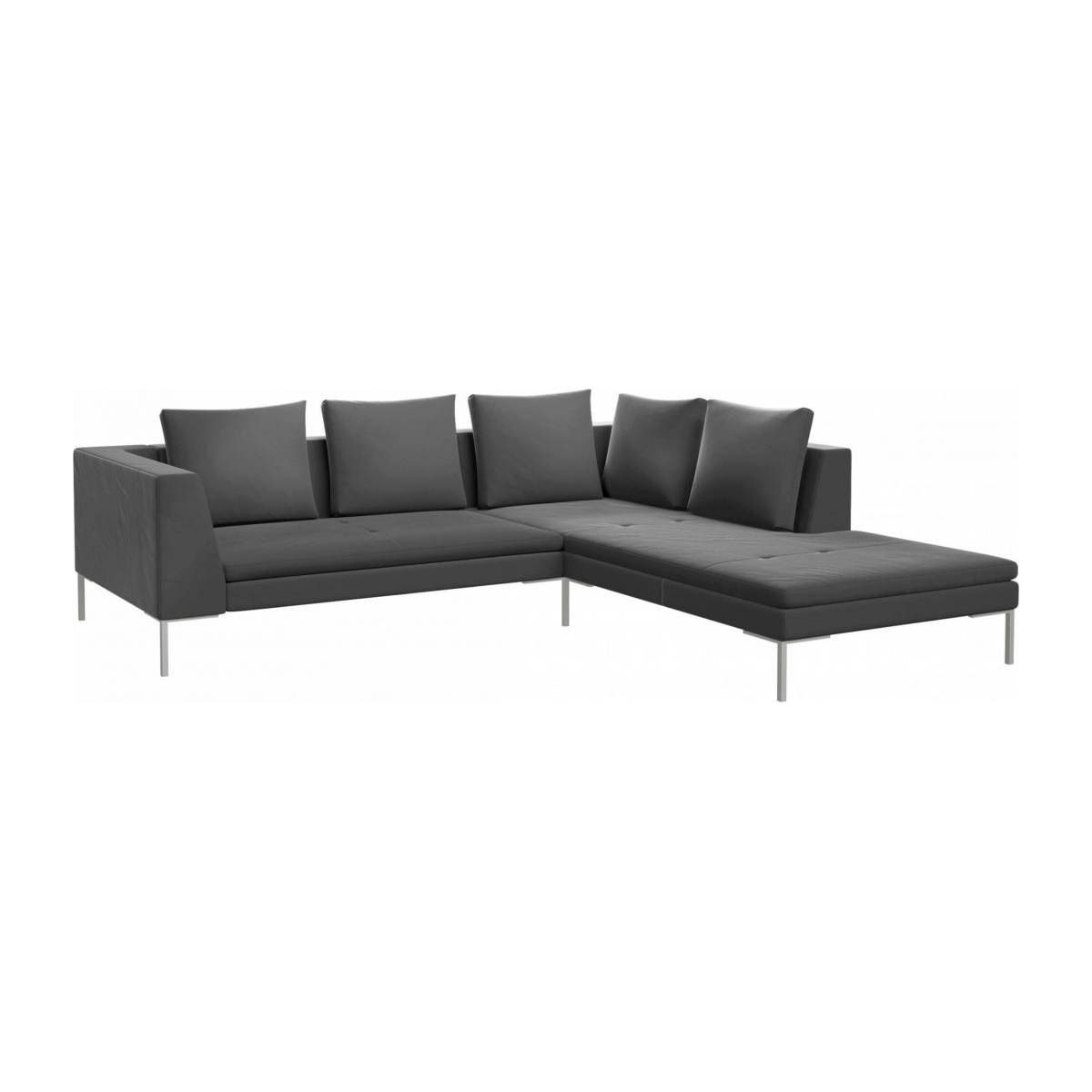 2 seater sofa with chaise longue on the right in Super Velvet fabric, silver grey  n°2