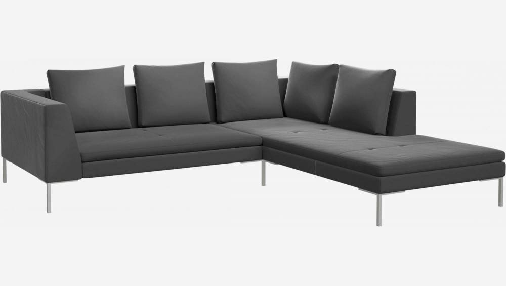 2 seater sofa with chaise longue on the right in Super Velvet fabric, silver grey