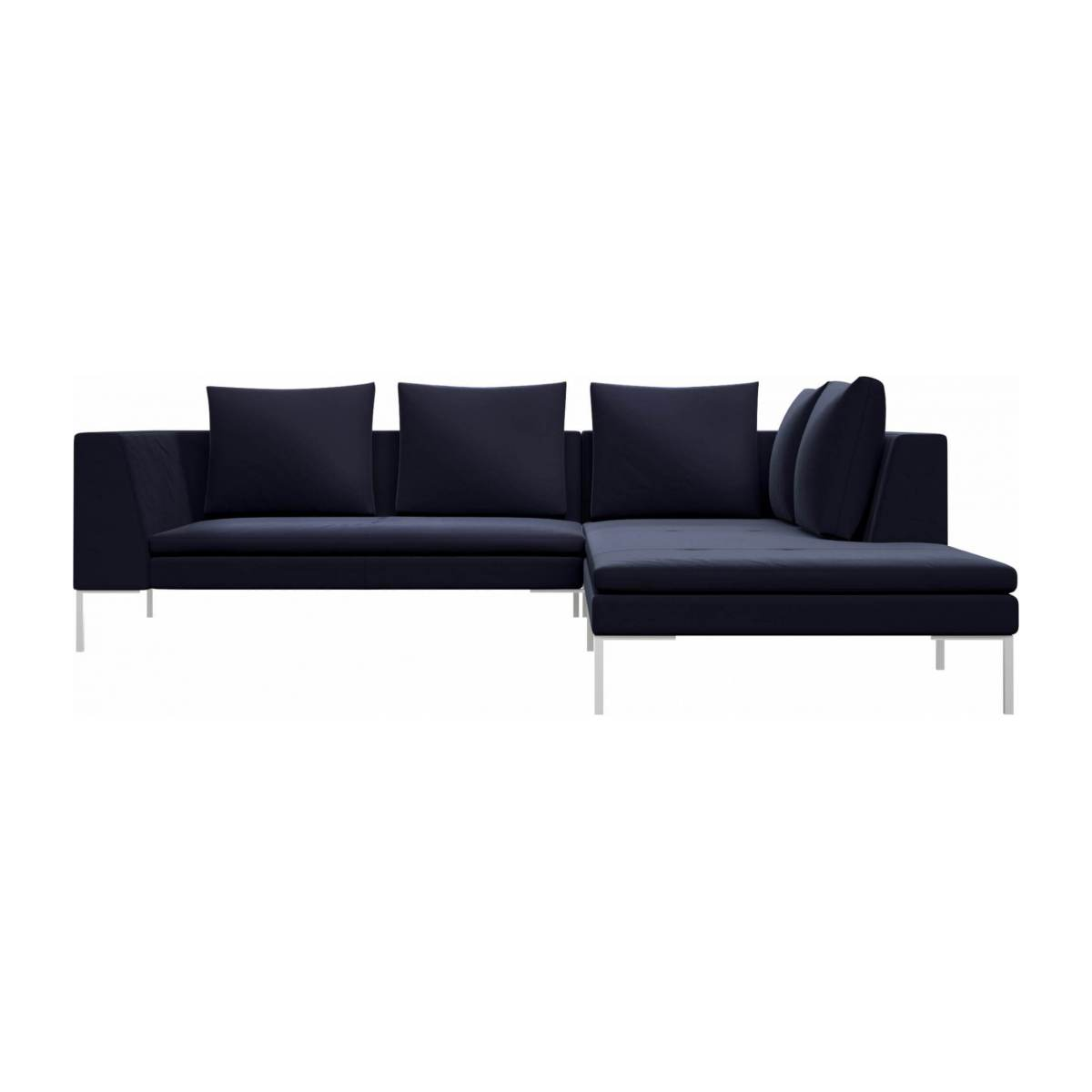 2 seater sofa with chaise longue on the right in Super Velvet fabric, dark blue  n°1