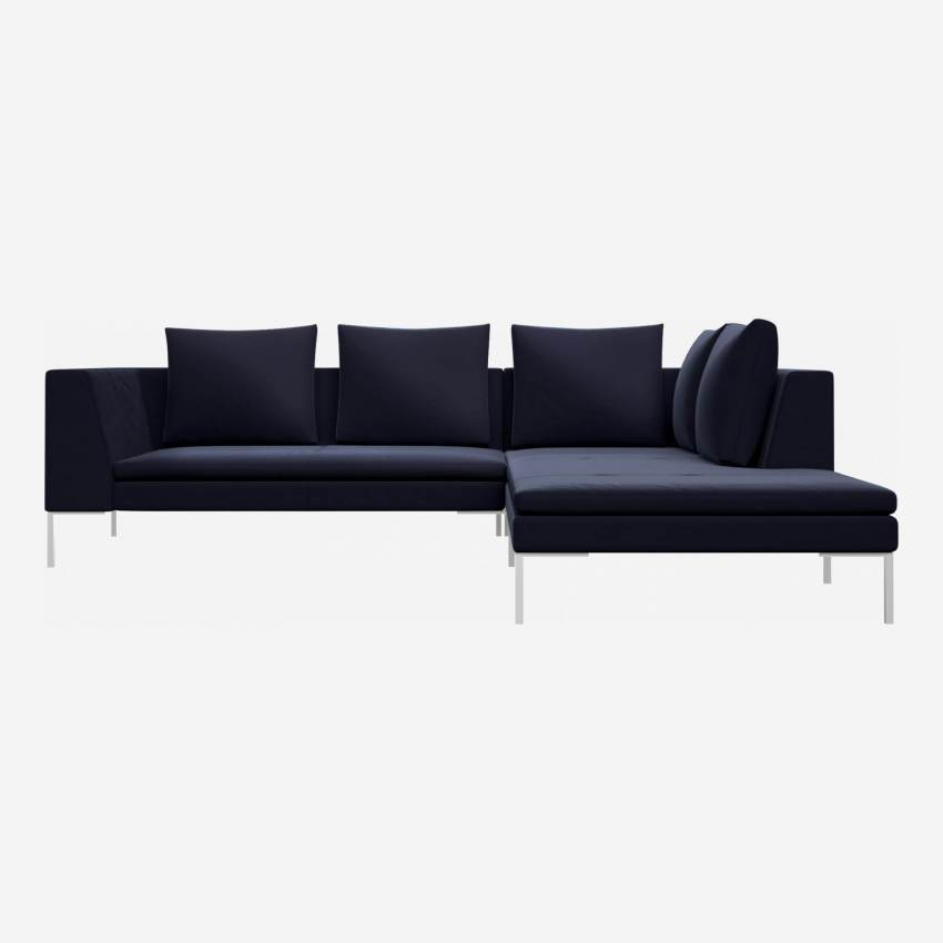 2 seater sofa with chaise longue on the right in Super Velvet fabric, dark blue