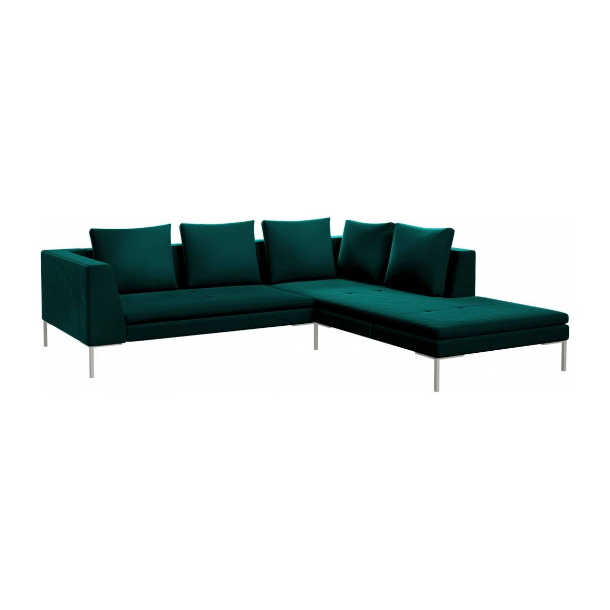 2 seater sofa with chaise longue on the right in Super Velvet fabric, petrol blue  n°2