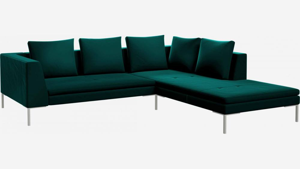 2 seater sofa with chaise longue on the right in Super Velvet fabric, petrol blue