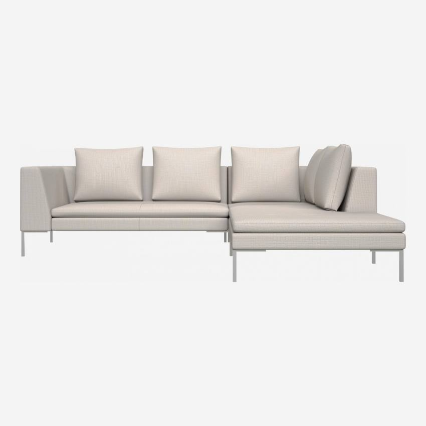 2 seater sofa with chaise longue on the right in Fasoli fabric, snow white