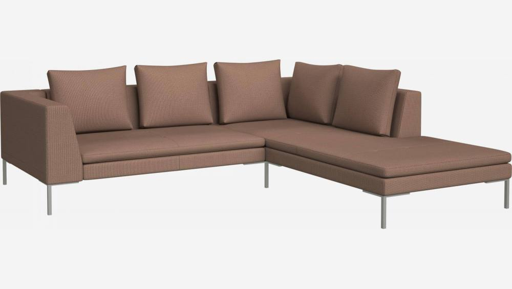 2 seater sofa with chaise longue on the right in Fasoli fabric, jatoba brown