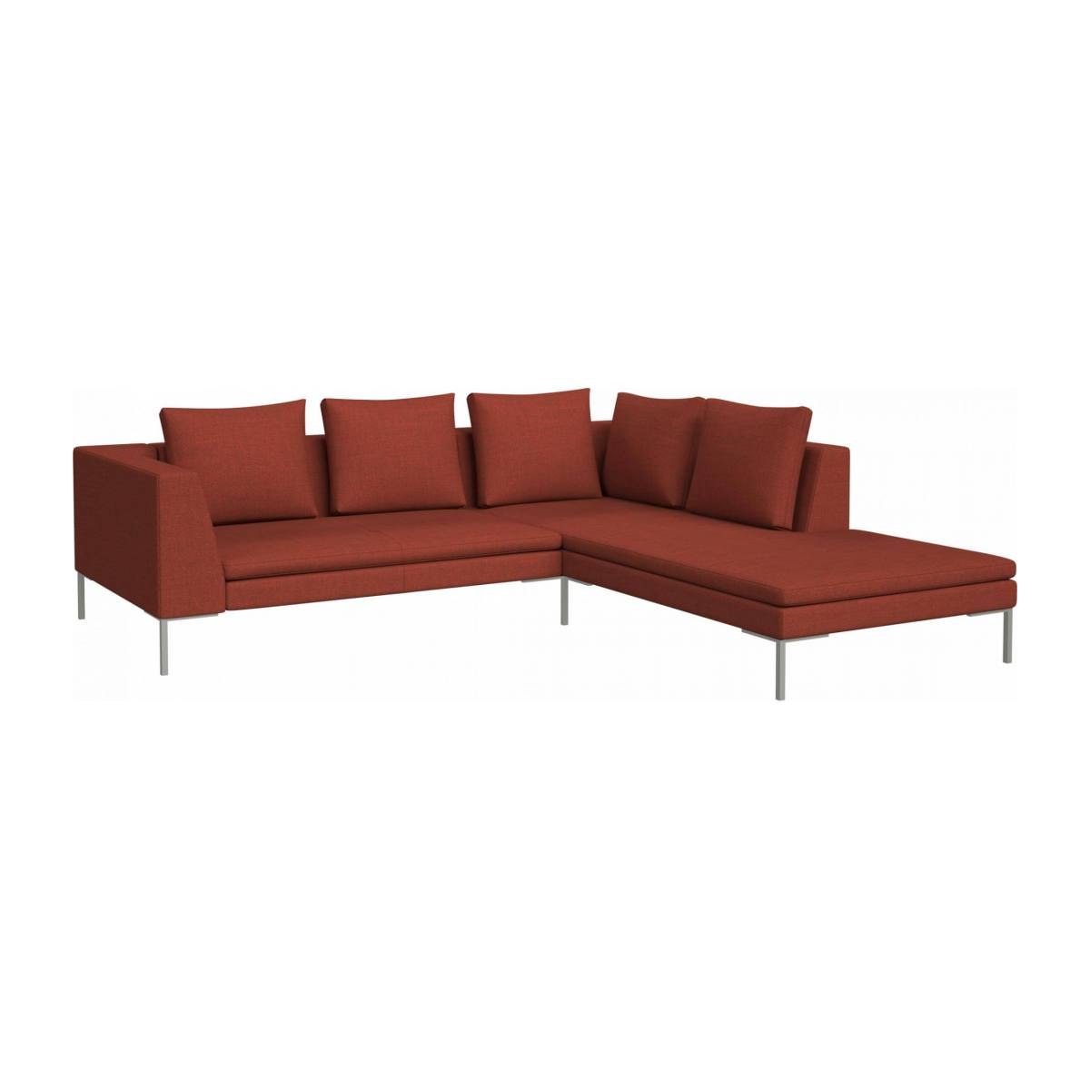 2 seater sofa with chaise longue on the right in Fasoli fabric, warm red rock  n°2