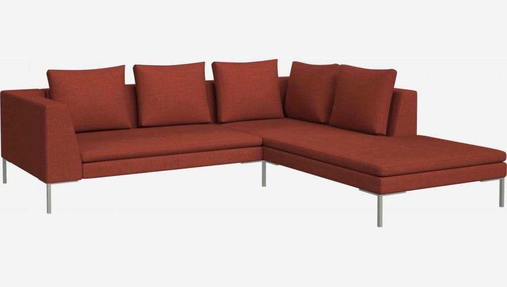 2 seater sofa with chaise longue on the right in Fasoli fabric, warm red rock