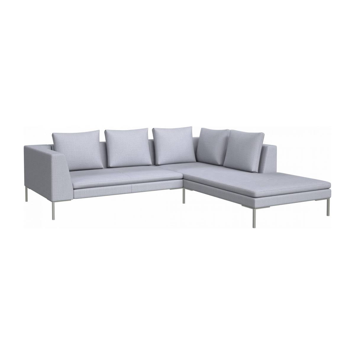 2 seater sofa with chaise longue on the right in Fasoli fabric, grey sky  n°2