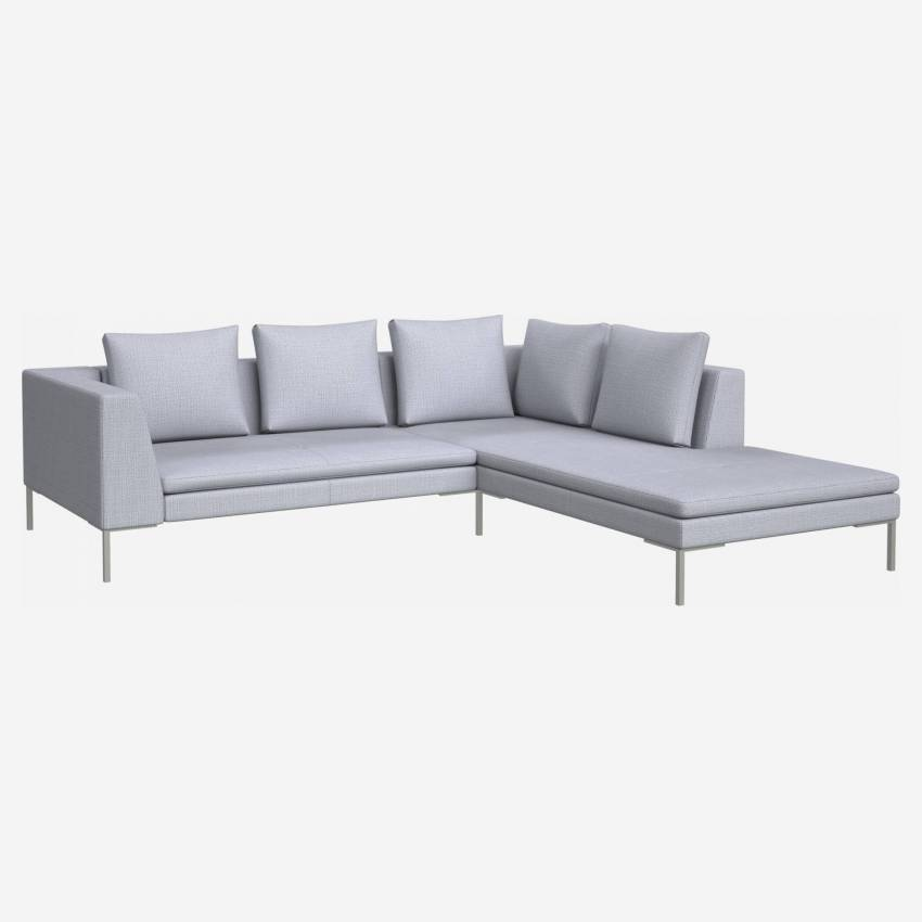 2 seater sofa with chaise longue on the right in Fasoli fabric, grey sky