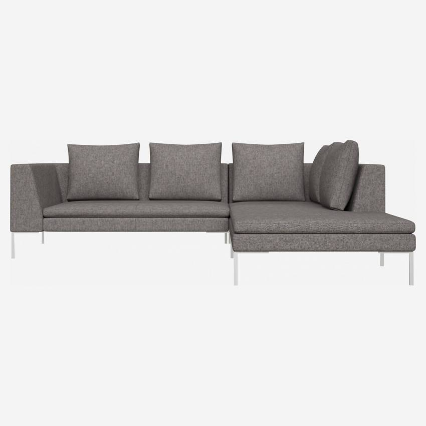 2 seater sofa with chaise longue on the right in Bellagio fabric, night black