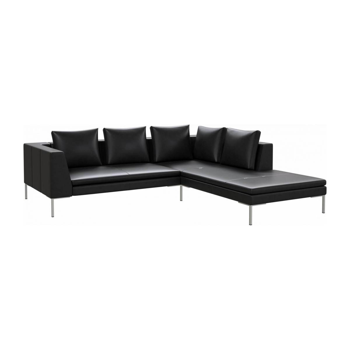 2 seater sofa with chaise longue on the right in Savoy semi-aniline leather, platin black  n°2