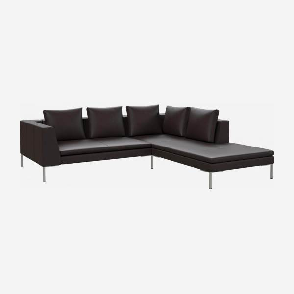 2 seater sofa with chaise longue on the right in Savoy semi-aniline leather, dark brown amaretto