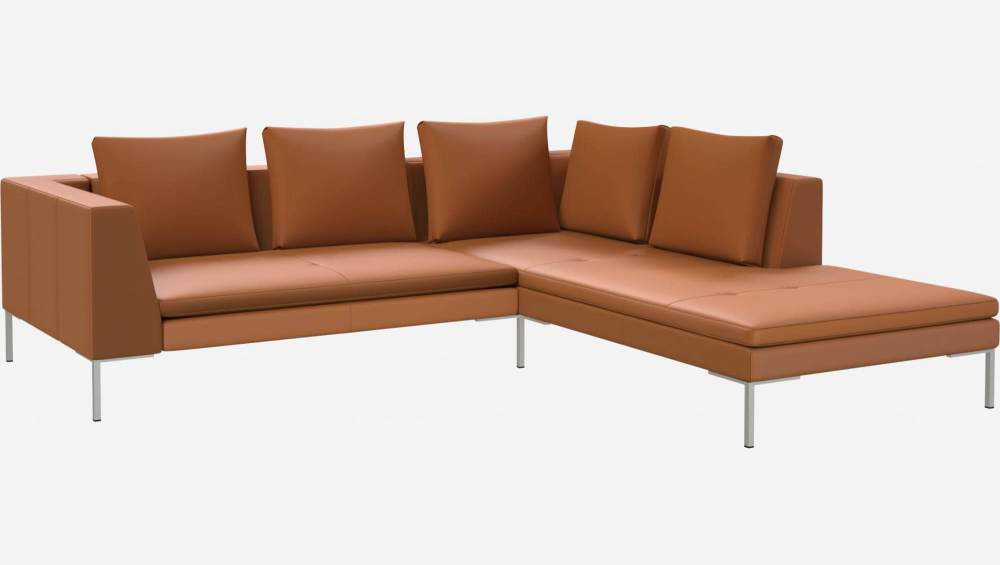 2 seater sofa with chaise longue on the right in Savoy semi-aniline leather, cognac