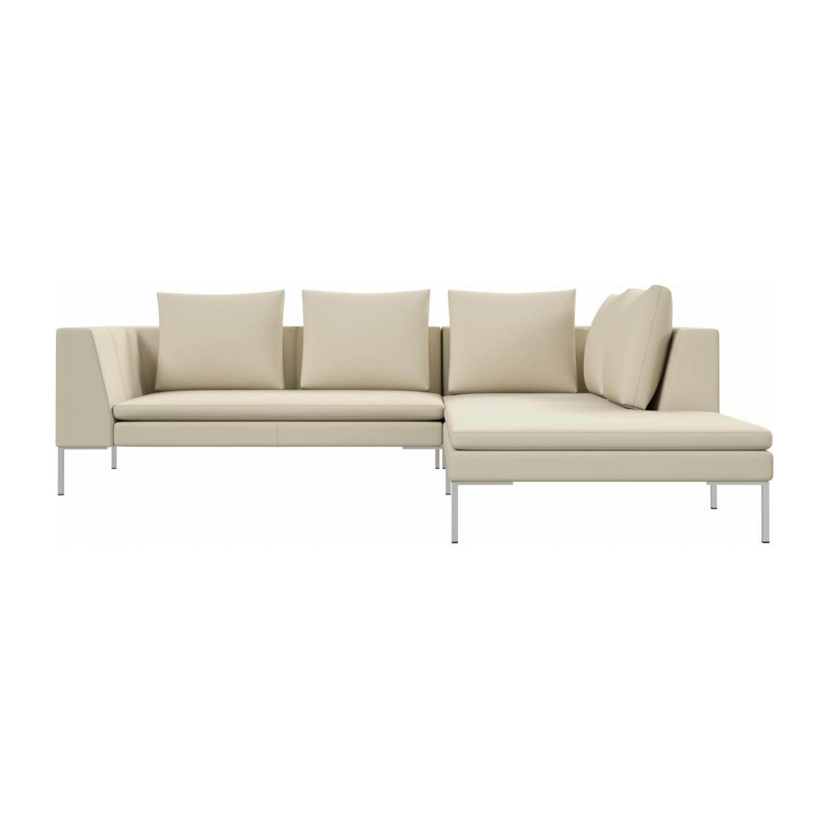 2 seater sofa with chaise longue on the right in Savoy semi-aniline leather, off white  n°1