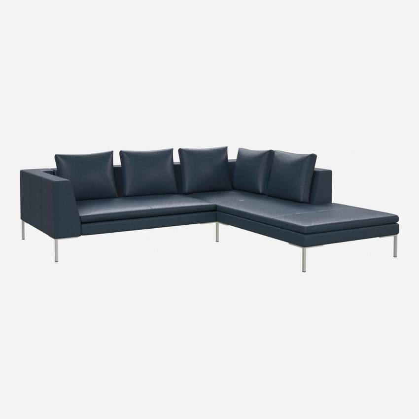 2 seater sofa with chaise longue on the right in Vintage aniline leather, denim blue