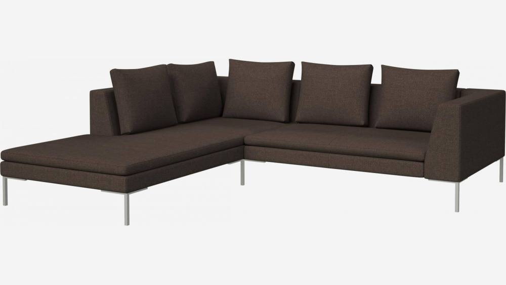2 seater sofa with chaise longue on the left in Lecce fabric, muscat