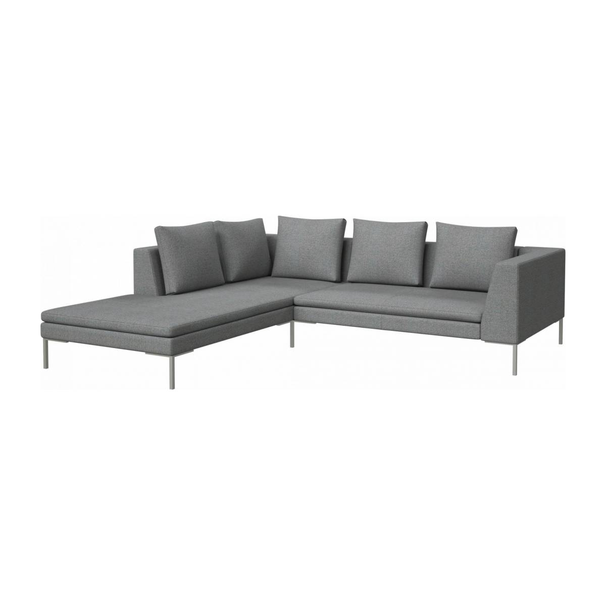 2 seater sofa with chaise longue on the left in Lecce fabric, blue reef  n°2