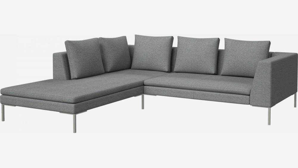 2 seater sofa with chaise longue on the left in Lecce fabric, blue reef