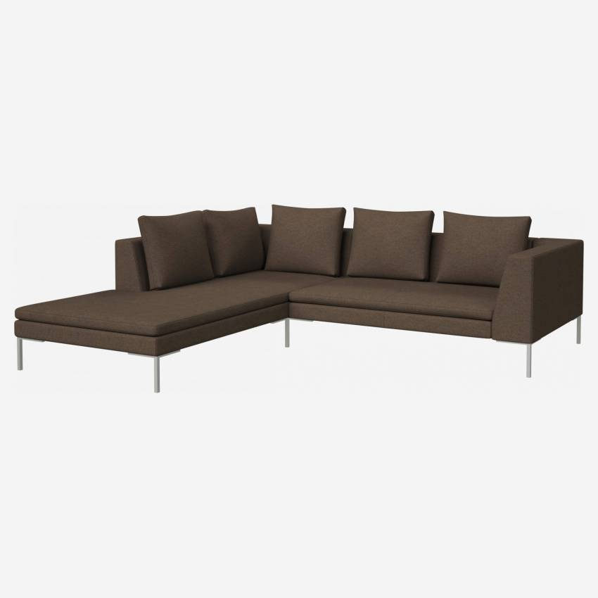 2-Sitzer-Sofa mit Chaiselongue links aus Lecce-Stoff - Orange
