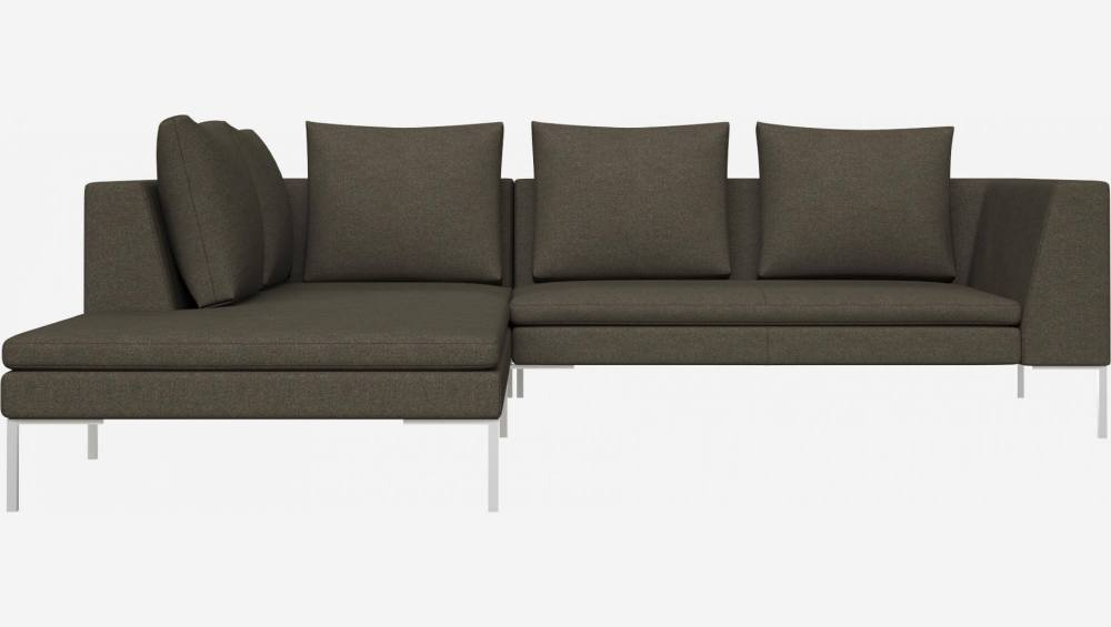 2 seater sofa with chaise longue on the left in Lecce fabric, slade grey