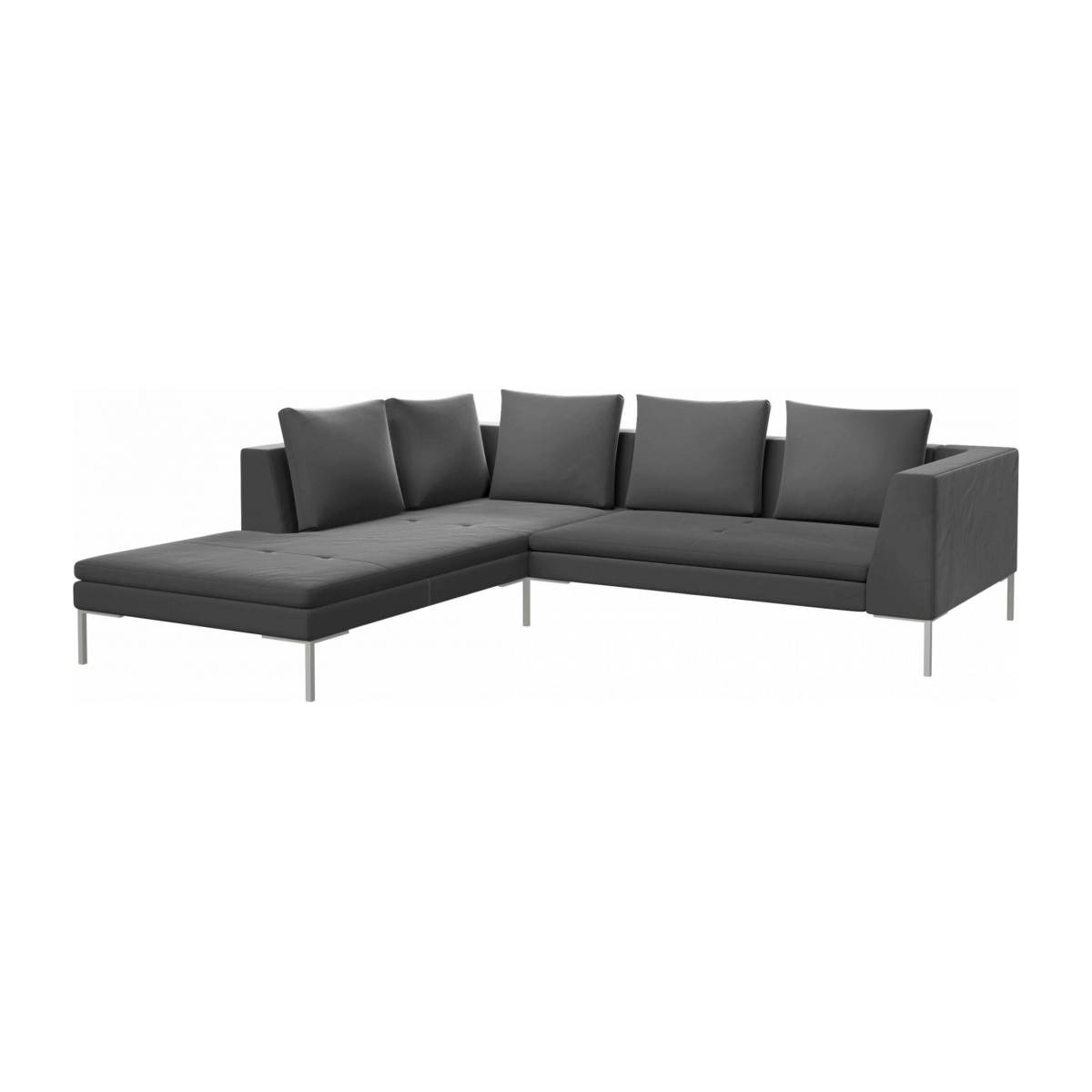 2 seater sofa with chaise longue on the left in Super Velvet fabric, silver grey  n°2