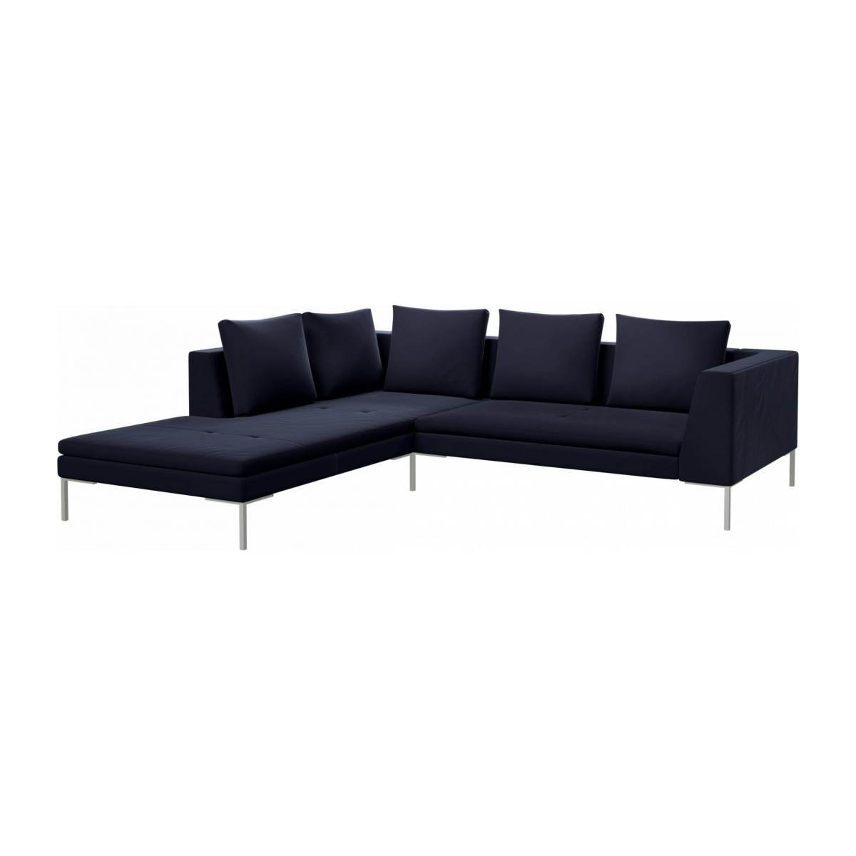 2 seater sofa with chaise longue on the left in Super Velvet fabric, dark blue  n°2