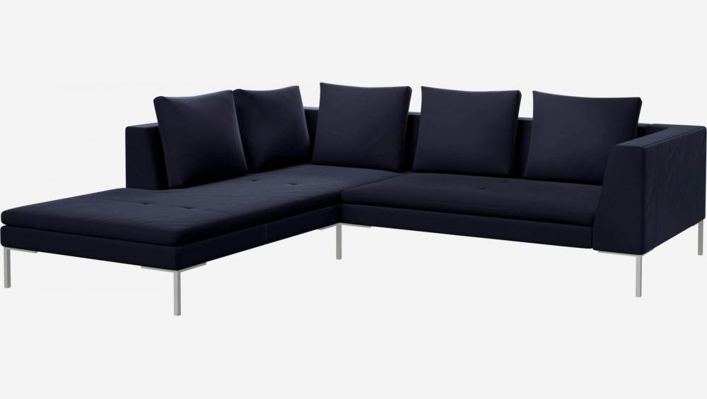 2 seater sofa with chaise longue on the left in Super Velvet fabric, dark blue