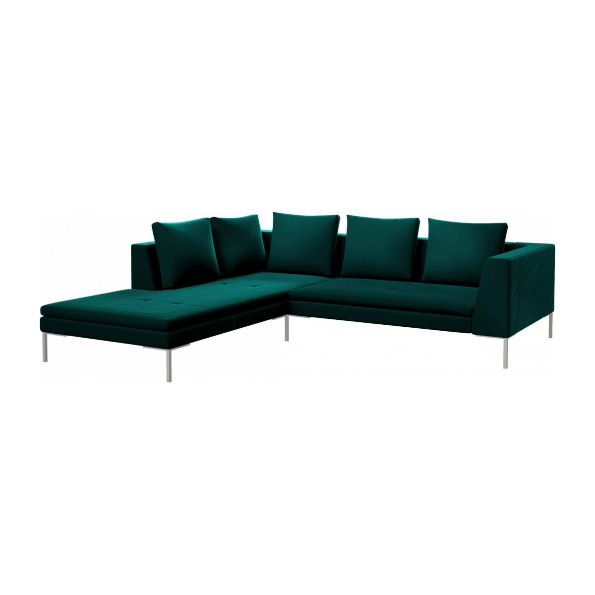 2 seater sofa with chaise longue on the left in Super Velvet fabric, petrol blue  n°2