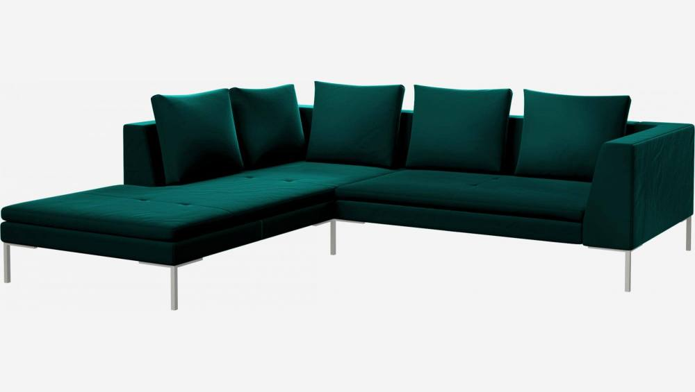 2 seater sofa with chaise longue on the left in Super Velvet fabric, petrol blue