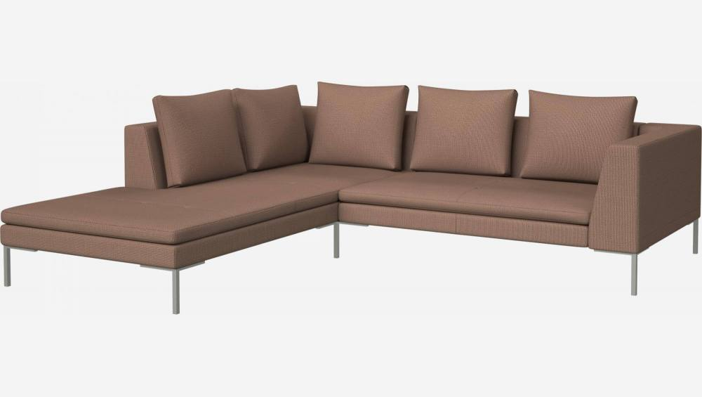 2 seater sofa with chaise longue on the left in Fasoli fabric, jatoba brown
