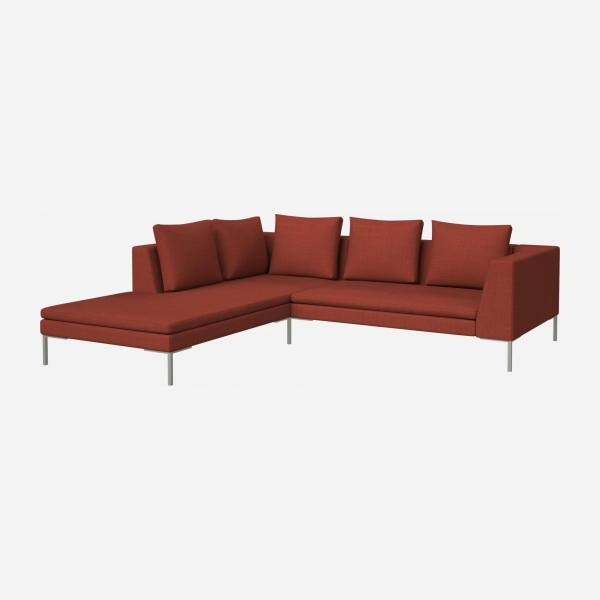 2 seater sofa with chaise longue on the left in Fasoli fabric, warm red rock