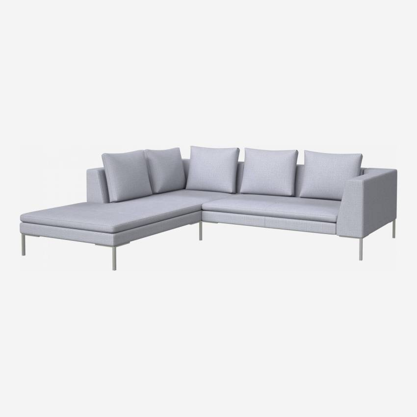 2 seater sofa with chaise longue on the left in Fasoli fabric, grey sky