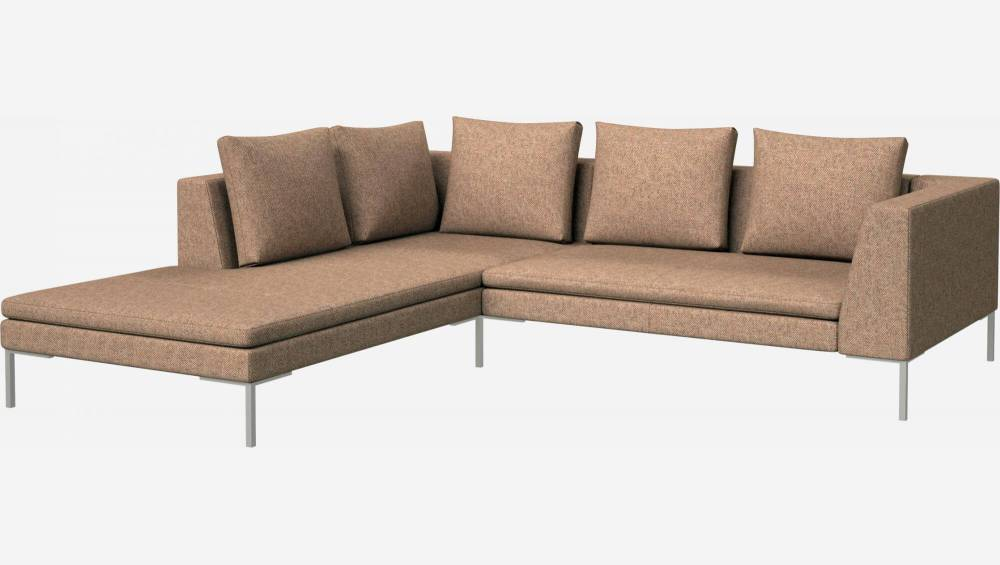 2 seater sofa with chaise longue on the left in Bellagio fabric, passion orange