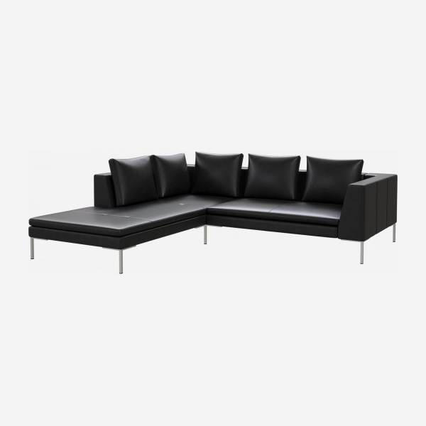 2 seater sofa with chaise longue on the left in Savoy semi-aniline leather, platin black