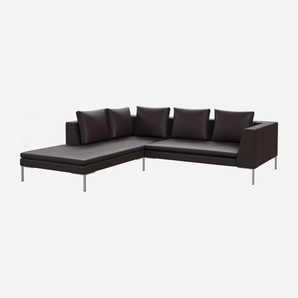 2 seater sofa with chaise longue on the left in Savoy semi-aniline leather, dark brown amaretto